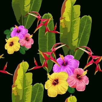 ハイビスカスと赤のヘリコニアの花の背景と熱帯のシームレスパターン