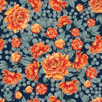 シームレスパターンの美しいオレンジ色のペオニア