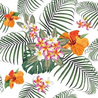 フランジパニとのシームレスなパターン熱帯夏