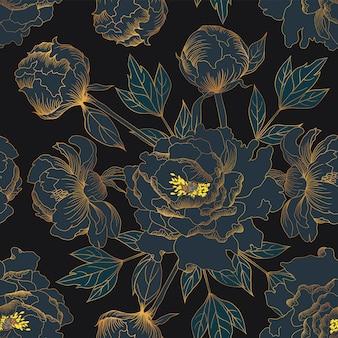 シームレスパターンの美しい黄金のペオニアビンテージ花
