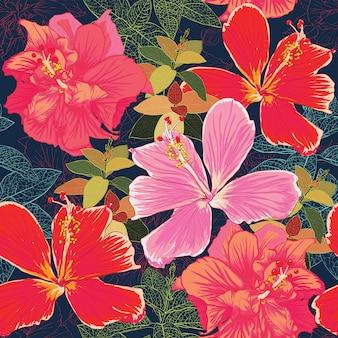 シームレスパターンカラフルなハイビスカスの花の背景。