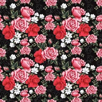 シームレスパターンピンクローズとマグノリアの花の背景。