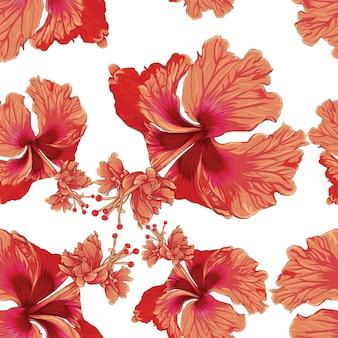 シームレスパターンカラフルなハイビスカスの花の白い背景。