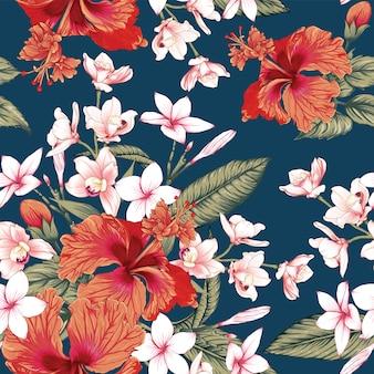 シームレスな花柄赤ハイビスカス、ピンクのプルメリアと蘭の花の背景。ベクトルイラスト。