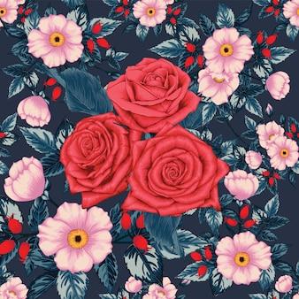 シームレスパターンの赤いバラの花