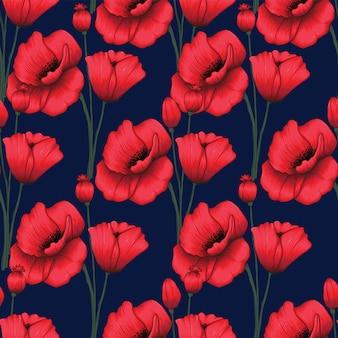 シームレスパターンの赤いケシの花