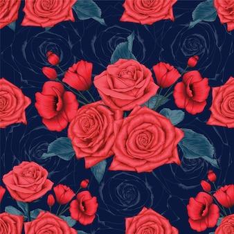 暗い背景に赤いバラとポピーの花