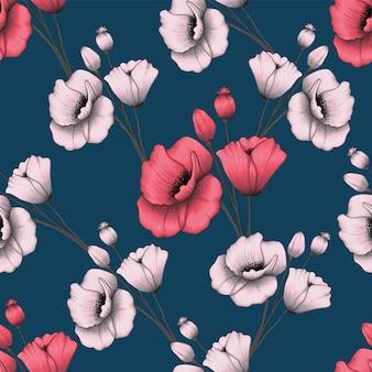 シームレスパターンピンクパステルポピーの花