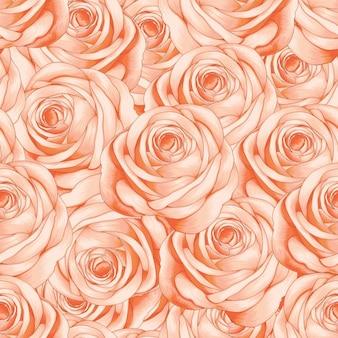 Бесшовный фон розовая роза