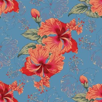 シームレスパターンハイビスカスの花を抽象化します。ベクトルイラスト水彩手描き。