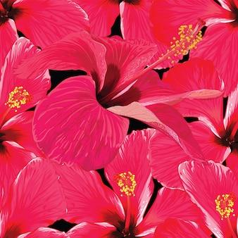 シームレスパターン赤ハイビスカスの花を抽象化します。ベクトルイラスト手描き。