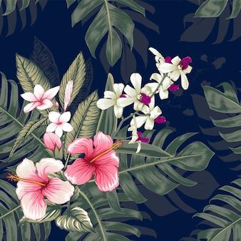 シームレスパターンピンクハイビスカス、フランジパニ、蘭の花、熱帯