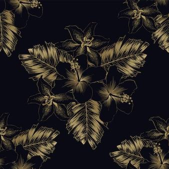 シームレスパターン高級ゴールドハイビスカスとユリの花とヤシの葉