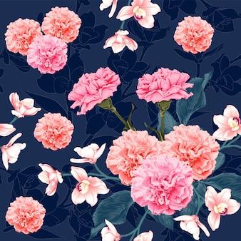 Бесшовный образец ботаническая розовая гвоздика и розовые цветы орхидеи на абстрактном темно-синем фоне. акварельный стиль рисования иллюстрации.