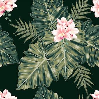 シームレスな花柄ピンクのパステル蘭の花モンステラは、抽象的な背景を葉します。イラスト水彩手描き。