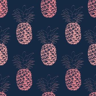 Бесшовные линии линии искусства розовый ананас на темно-синем фоне.