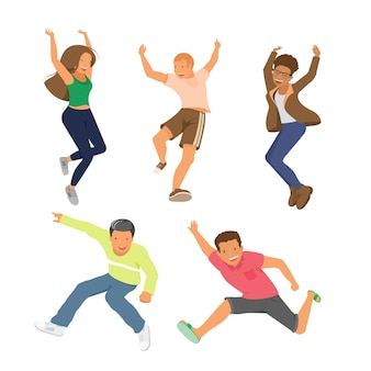 Векторный набор счастливых людей, прыжки изолированных