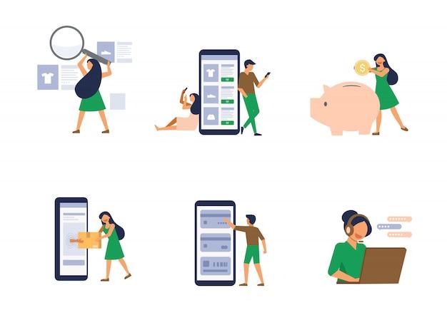 Иллюстрация набор людей, делающих покупки онлайн