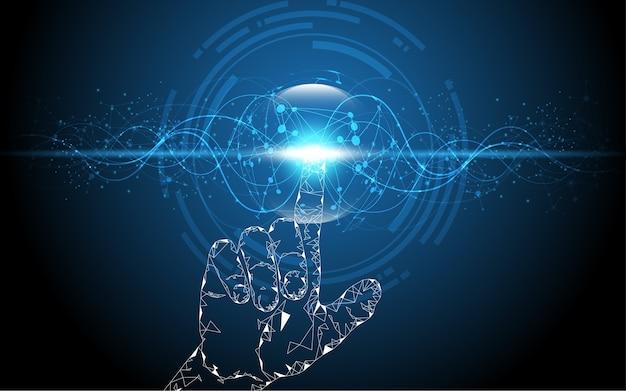 手のタッチの選択は、未来の抽象的技術に触れる