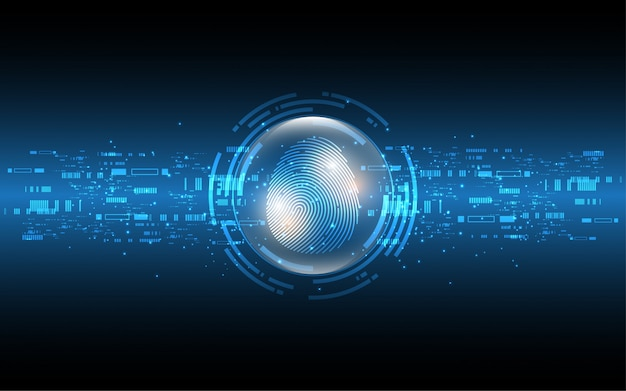 セキュリティサイバーデジタルコンセプト指紋スキャン