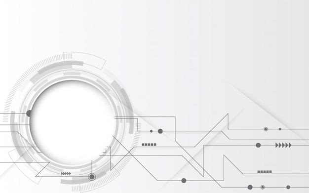 様々な技術要素とグレーホワイトの抽象的な技術の背景