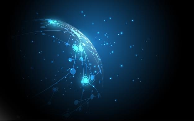 グローバルネットワーク接続の抽象的な技術の背景グローバルビジネスイノベーションの概念