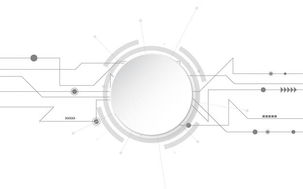 様々な技術要素と灰色の白の抽象的な技術の背景ハイテク通信概念革新の背景