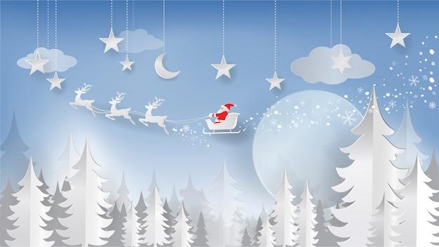 Рождественский и новогодний вырез бумаги, стиль бумажного искусства. санта-клаус и олени летают в небе