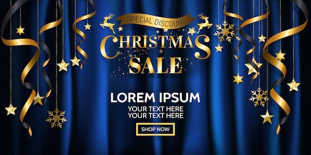 ポスターのためのラグジュアリークリスマスセールのバナーデザイン、ブルーサテンの背景に金色のウェブ。