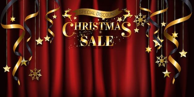 ポスターのための金のクリスマスの背景の販売のバナーの設計、赤いサテンの背景の金のウェブ。