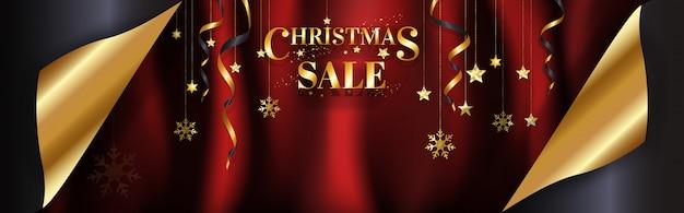 豪華なクリスマスセールのバナーページは、ポスター、カラフルなデザイン、赤のサテンの背景にゴールドのウェブ。