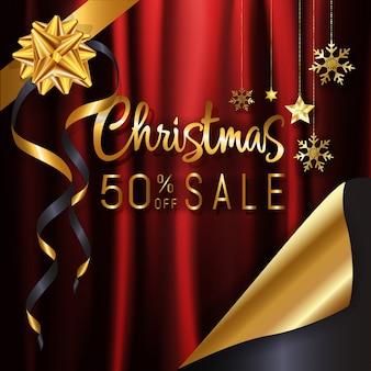 レッドゴールドクリスマス書道販売バナーの背景ページのコピーデザインのポスターのためのカールのデザイン。