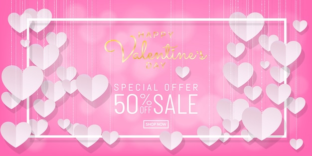 甘いバレンタインデーセールピンクの背景紙カット、ペーパーアートぶら下げハート