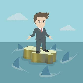 Бизнесмен, стоя на плавающей знак доллара над синим океаном с акулами.