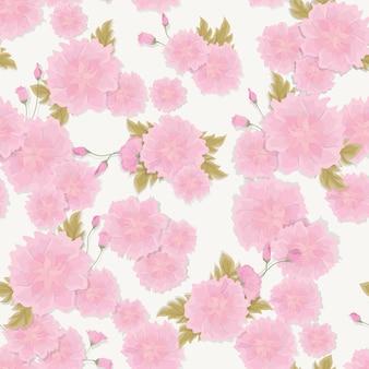 きれいなピンクのブーゲンビリアの花と熱帯の葉のシームレスな新鮮な花柄