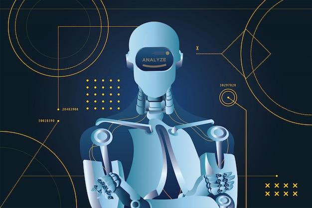未来的な分析ロボットスタイル
