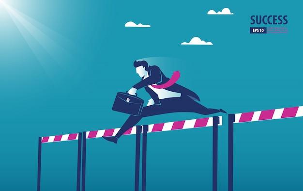 Бизнесмен прыгает от препятствий к успеху