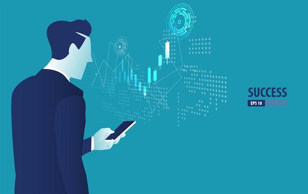 スマートフォンのコンセプトと未来の株式取引を制御するビジネスマン