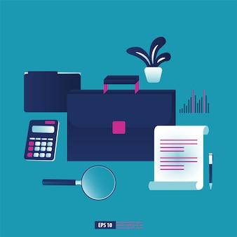 ビジネススーツケースとオフィス文具要素。