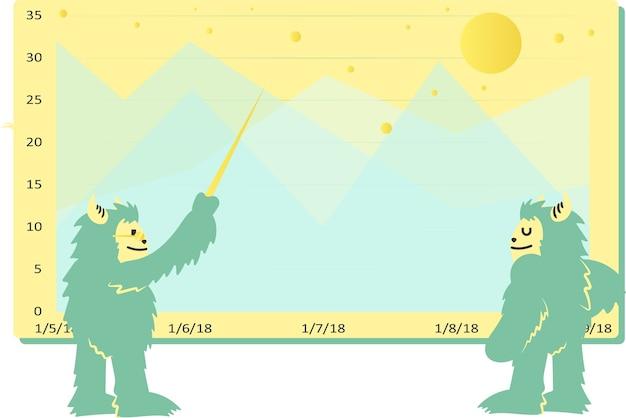山岳データを分析する漫画イエティ