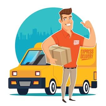 配達人とトラック