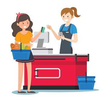スーパーで女性レジ係