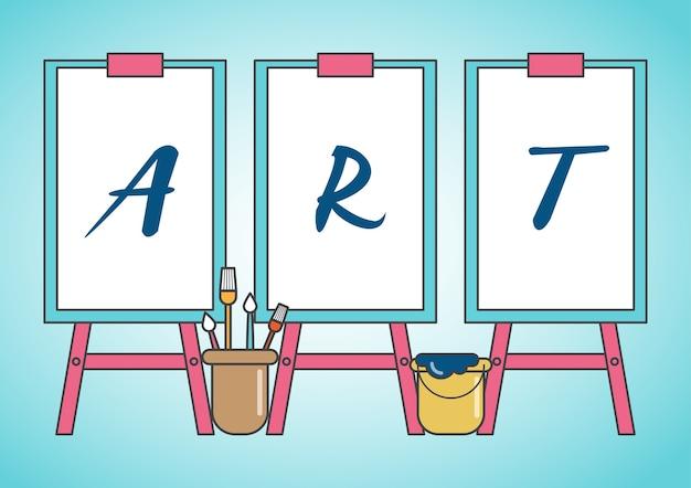 Художественный мольберт и холст с оборудованием для рисования и презентации