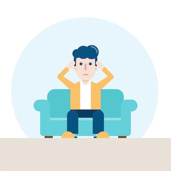 リビングルームのソファーに座っている悲しい男の性格、ストレス、心配、またはコロナウイルスに対する不安。