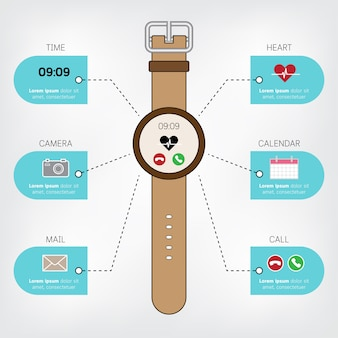 Умные часы инфографики в концепции плоский дизайн с дисплеем значков.