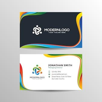 Современный дизайн цветной визитной карточки с логотипом
