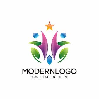 Природа абстрактный человеческий логотип.