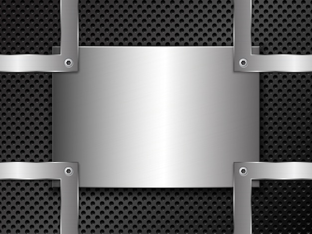 Металл с перфорацией и полированной стальной пластиной, закрепленной винтами
