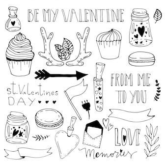 瓶の中の思い出。聖バレンタインの日落書きイラスト。