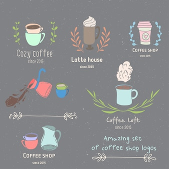 コーヒーショップのロゴセット